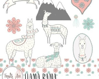 Cute Llama Clipart, Nursery Clipart, Llama Clipart, Pink and Blue, Hand Drawn, Valentine's Day, Clipart