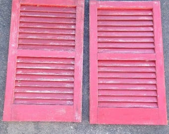 Architectural vintage shutters home decor salvage pair of 2