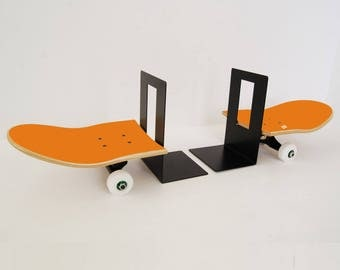 Skateboard Bookends Tail and Nose Stop - Orange