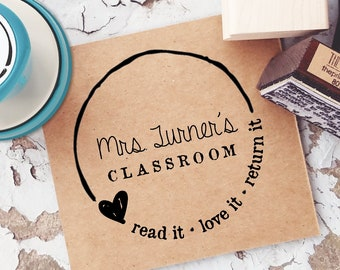 Self-Inking Teacher Stamp- Teacher Book Stamp- From The Classroom Of Stamp- Read it, Love it, Return it- Personalized Rubber Stamp 10183