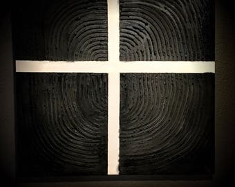 Abstract, labyrinth, black, white, contemporary, art, cross
