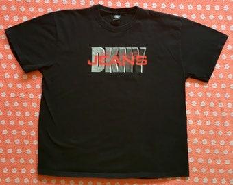 vintage shirt / 90s donna karen dkny shirt jeans baggy oversized boyfriend / black tshirt LARGE