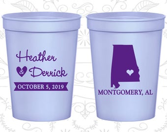 Alabama Wedding Cups, Alabama Wedding, Party Cups, Destination Wedding, State Cups, Plastic Cups (100)