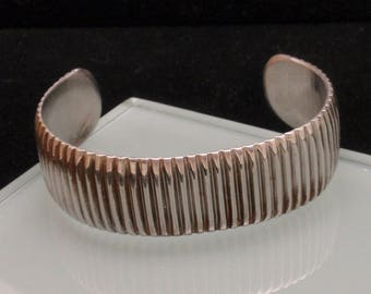 Ribbed Cuff Bracelet Silver Tone Vintage