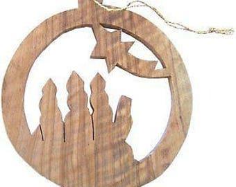 """Wood Ornament - Flat (8 cm or 3.2"""" diameter)"""