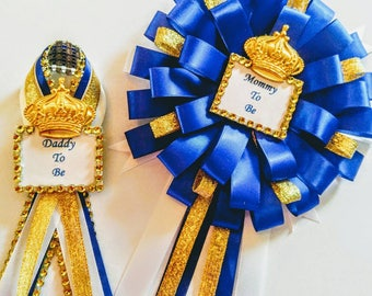 4 Royal crown baby shower corsages