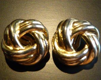 Love Knot Clip Earrings Gold Tone