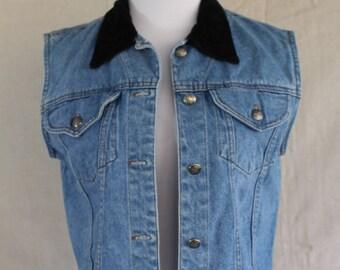 Jean Jacket vest with velvet collar
