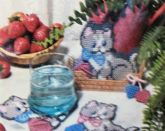 Bucilla Plastic Canvas kit 6075 Playful Kitten Coasters Vintage 1991