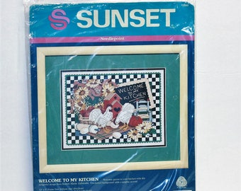 Sunset Needlepoin kit 12089 Welcome To My Kitchen by Dimensions  Vintage 1993