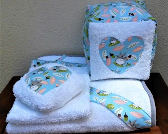 Terry set for baby room with Totoro fabric finished