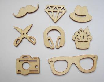 8 wooden figurines wooden man, new boy theme embellishments