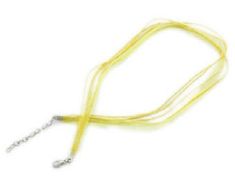 2 yellow 43 cm waxed cotton thread and organza Ribbon necklaces