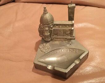 vintage ricordo di firenze metal ashtray/vintage metal/italy ashtray
