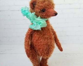 Teddy bear Chiro - german mohair, artist teddy, OOAK bear teddy, fabric art toy , collectible teddy