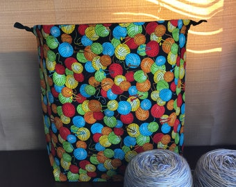 Yarn Balls Large Drawstring Project bag