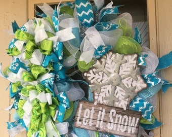 "Lime green and turquoise ""let it snow"" wreath."