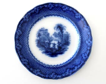 English Flow Blue Plate 1891-1914 , Burgess and Leigh Italia Antique Flow Blue Replacement China