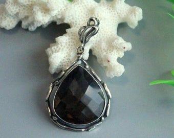 Smokey quartz pendant, sterling silver 925,  quartz pendant, silver pendant, sterling pendant, quartz silver
