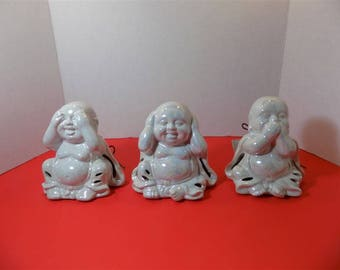 NEW Ceramic Set of Three Baby Buddha's GC Naturals High Fragrance Sachet Holder Potpourri Figurine Asian Zen Spiritaul Religious Gift