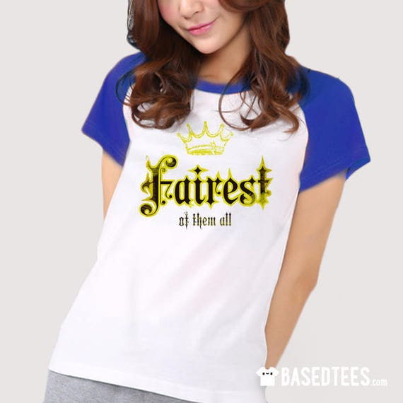 Fairest of them all / Baseball T-shirt (royal blue & navy sleeves)