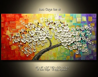Colorful Tree Painting, Blossom Tree Abstract Painting Modern Textured Palette Knife by Lana Guise