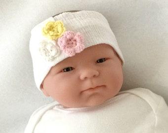 Muslin headband, flower headband, baby girl headband, white baby headband, newborn headband, headwrap for baby, baby girl headwrap