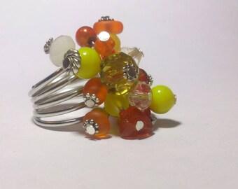 Adjustable ring size 58 orange yellow tones glass beads