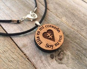 Autism Jewelry-Ella Es Mi Corazon-Autismo-Puzzle Piece Necklace-Autism Art-Art Jewelry-Laser Cut Pendant-Autism Gift