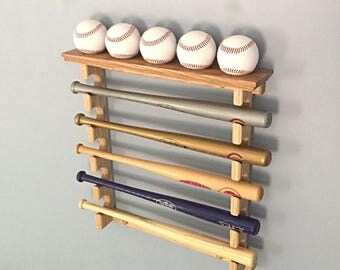 Made in the USA Horizontal Mini Bat Rack with Baseball Shelf