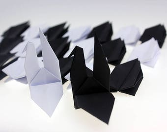 1000 Origami Paper Cranes Handmade Wedding Gift Window Decor Paper Goods Bird Crane Black White