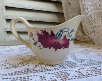 Antique french red and blue stencilware sauce boat. Red stencilware creamer milk pitcher. Sauce pitcher. Gravy boat. French country kitchen
