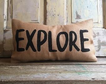 Pillow Cover | Explore pillow | burlap pillow | kids room pillow | kids room decor | Explore Decor | Explore Bedding