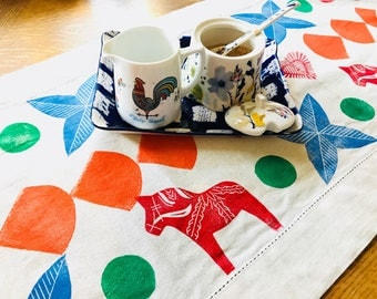 Dala Horse Table Runner - Block Printed by hand