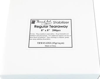 Regular Tearaway Embroidery Backing Stabilizer - 8x8 200 Precut Sheets