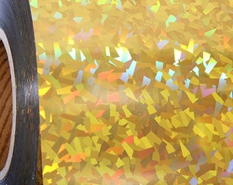 """Holographic Crystal Gold 20"""" Heat Transfer Vinyl Film By The Yard"""
