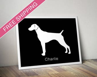 Personalized German Shorthaired Pointer Silhouette Print with Custom Name (version 1) - dog poster, dog gift, dog art