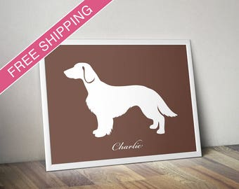 Personalized Welsh Springer Spaniel Silhouette Print with Custom Name (Natural Tail) - Welsh Springer dog art, dog poster, dog gift