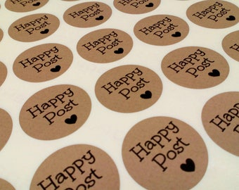 35mm Brown Kraft 'Happy Post' Stickers/35 stickers per sheet/ Small Envelope Seals Kraft / Stationary