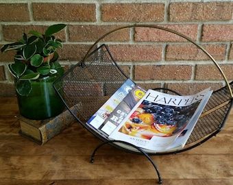 Vintage Mid Century Modern Magazine Rack, Black Metal Magazine Holder