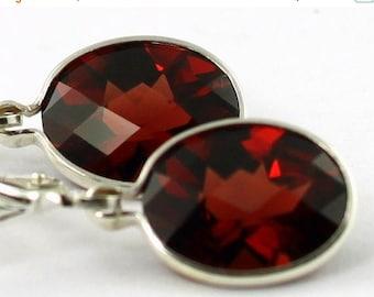 On Sale, 30% Off, Mozambique Garnet, 925 Sterling Silver Leverback Earrings, SE101
