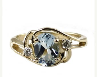On Sale, 30% Off, Aquamarine, 14KY Gold Ring, R176