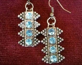 Medieval Earrings...Renaissance Earrings...Renfair Earrings...Silver and Blue stone Earrings...Viking Earrings...Norse
