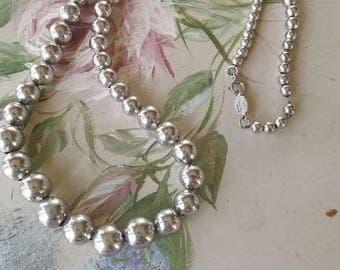 Vintage Napier 1960s Silver Tone Beaded Necklace