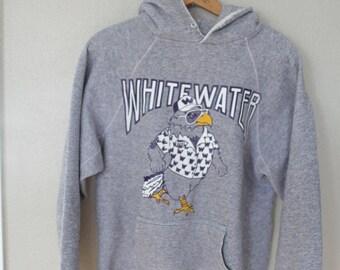 vintage university of wisconsin whitewater warhawks college heathered gray hoodie sweatshirt