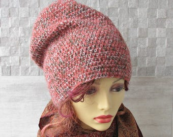 Dreadlock Hat, Slouchy Beanie, Large Head Tam, Blush Pink Winter Accessories