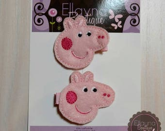Felt Hair or Planner Clips - Peppa Pig Inspired