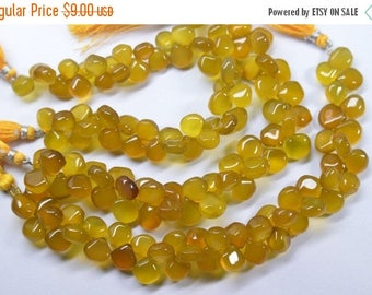 40%DIS 8 Inch 9-10mm Natural Deep Yellow Chalcedony Smooth Heart Briolette Beads-45 Beads