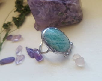 sale amazonite silver statment ring, crystal ring