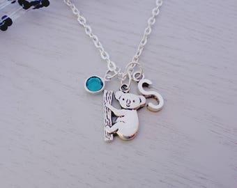 Koala Necklace, Silver Koala Bear, Initial Necklace, Personalized Initial Necklace, Animal Charms, Aussie Gift, Aussie Keepsake